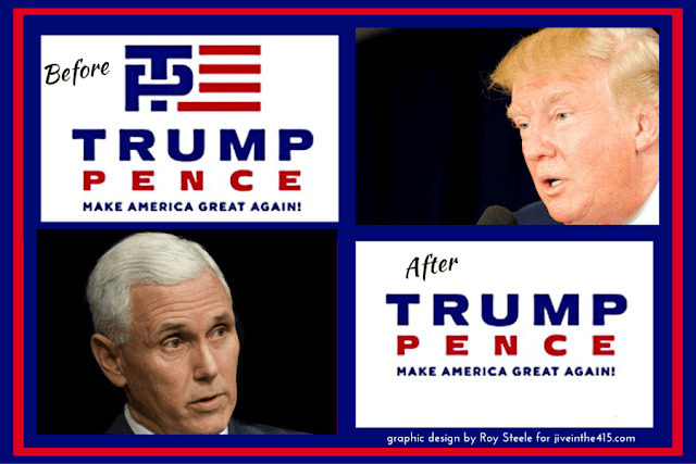 Trump for president campaign logos. The Friday logo (left) and the Saturday logo (right)