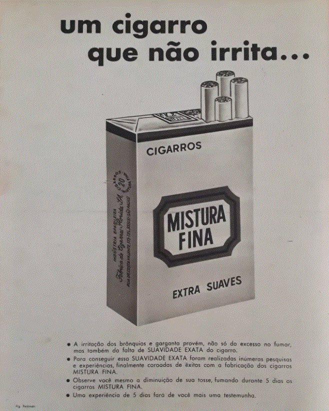 Propaganda antiga dos Cigarros Mistura Fina apresentados em 1961