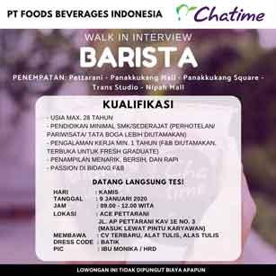 Lowongan Kerja Barista di PT Foods Beverages Indonesia