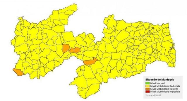 Paraíba mostra melhora no cenário da pandemia em nova avaliação e Patos, volta a bandeira amarela