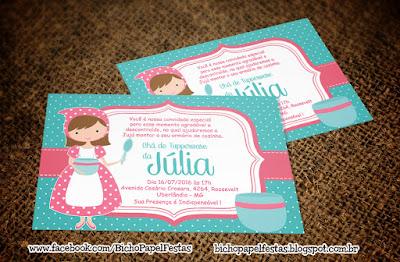 convite chá de cozinha azul tiffany e rosa