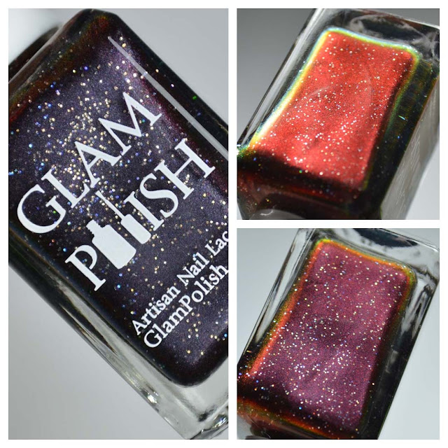 black red multichrome nail polish in a bottle