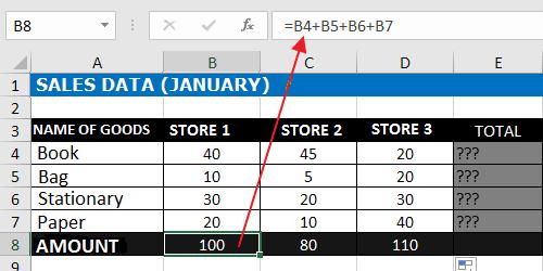 Adding Down Excel Formula Using plus Operator