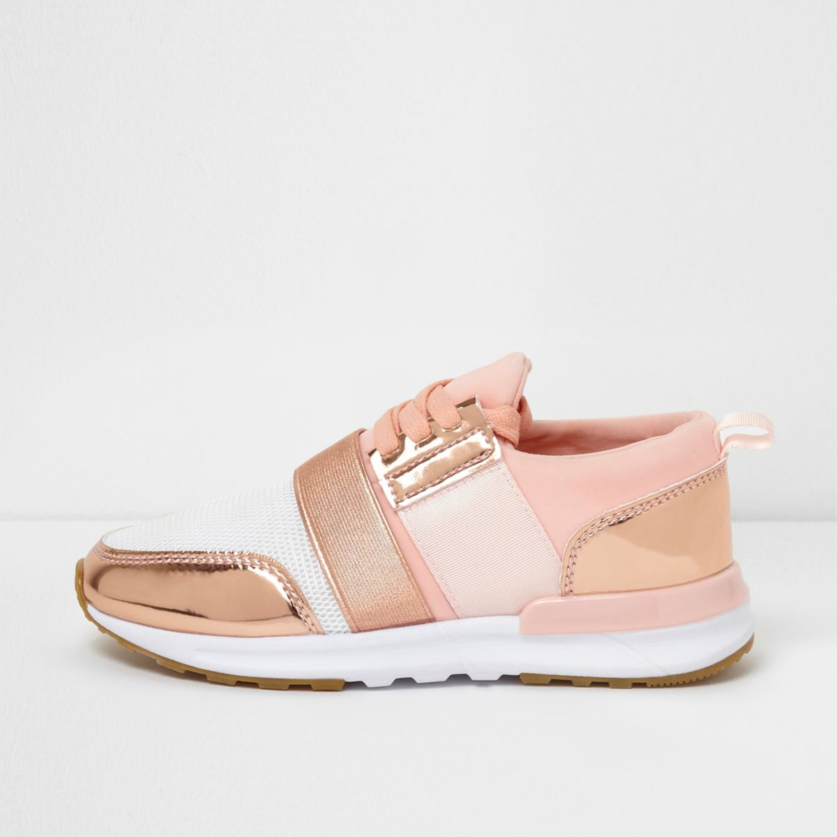 River Island Kids Girls Rose Gold Scuba Mesh Runner Trainers