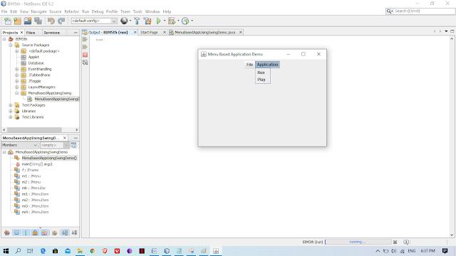 menu based application output