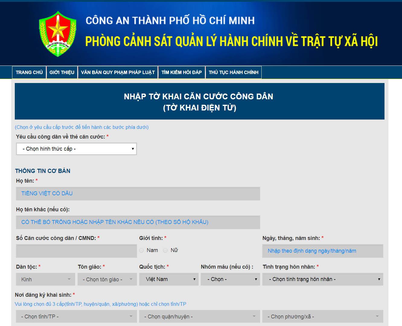 Hướng dẫn đăng ký làm thẻ căn cước công dân trực tuyến
