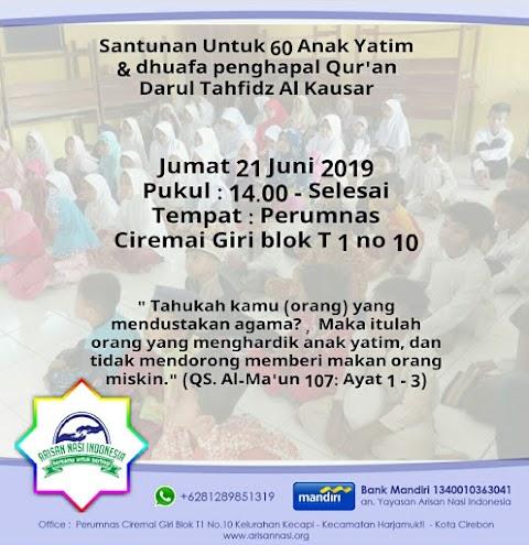 Santunan Untuk 60 Anak Yatim dhuafa penghapal Qur'an