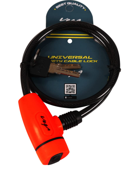Vega Safety Cable Lock Dull Black Red