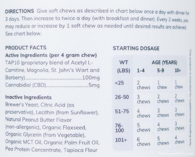 ingredient list for cbd soft chews for dogs