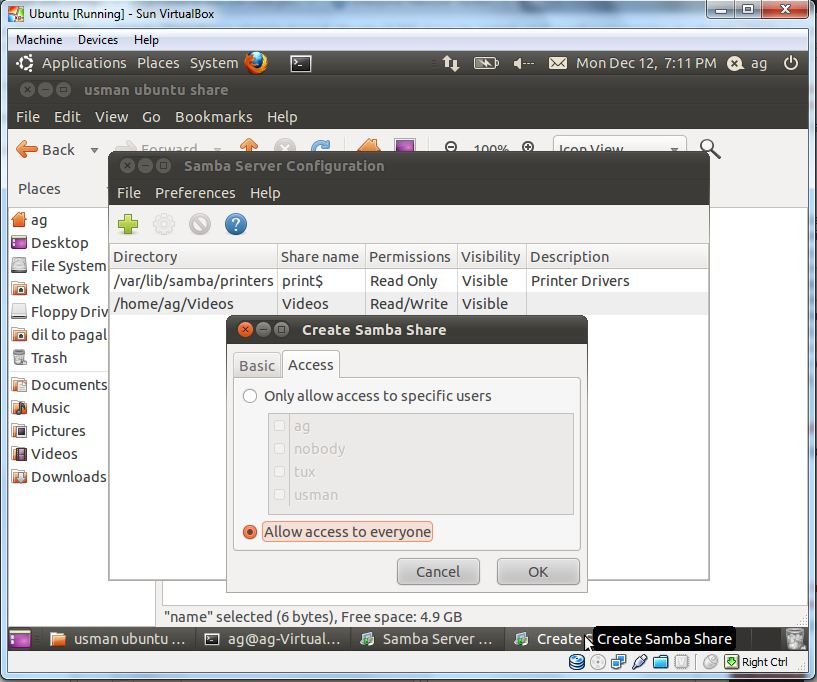 Read write access samba from ubuntu