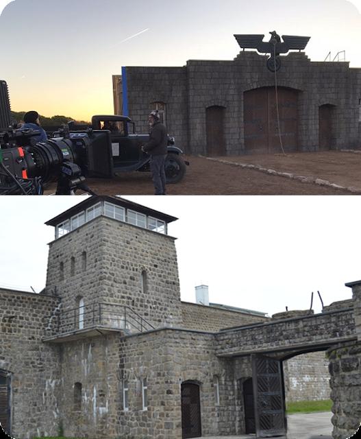 Arriba, escenario recreado para la película. Abajo, estado actual de la puerta del campo de concentración de Mathaussen