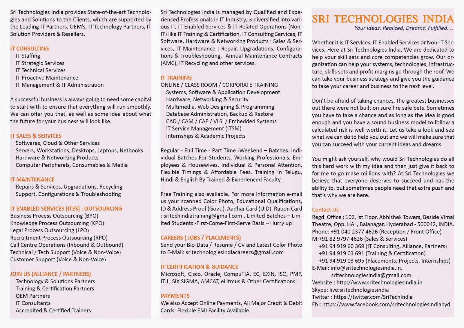 Welcome to Sri Technologies India - Free Training - Computer