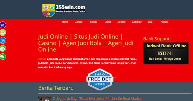 freebet bola bonus deposit 30% terbaru dari 355win