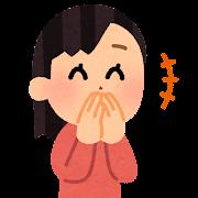 口を隠して笑う人のイラスト(女性)