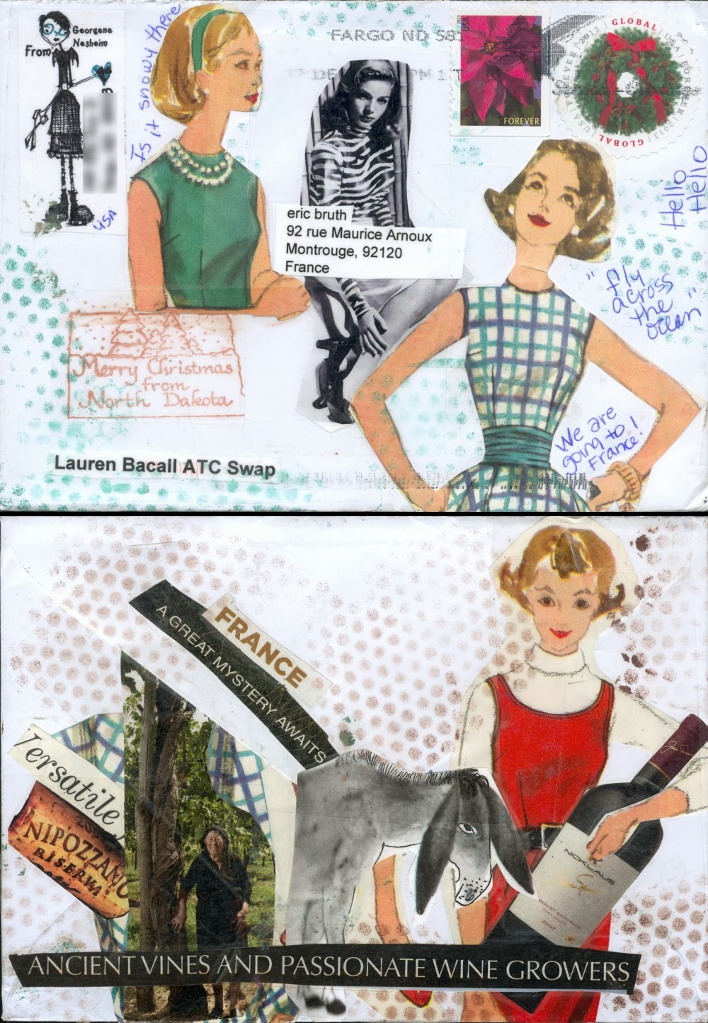 My Mail Art World: Lauren Bacall ATC swap