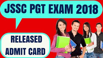 Jharkhand SSC PGT Teacher Admit Card 2018