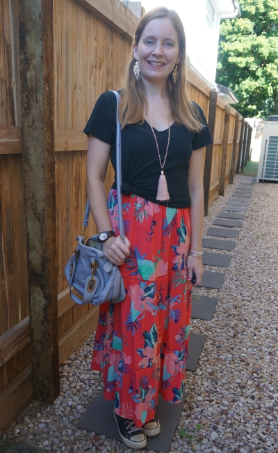 black tee knotted over a Kmart floral print maxi dress with converse Chloe Paraty Bag | awayfromblue