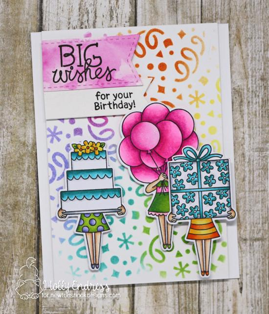 A Birthday Trio by Holly Endress | Holding Happiness Stamp Set and Confetti Stencil by Newton's Nook Designs #newtonsnook #handmade