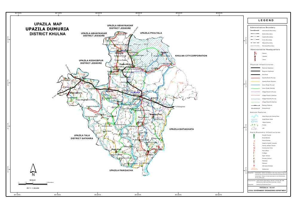 Dumuria Upazila Map Khulna District Bangladesh