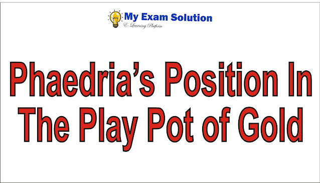 Describe Phaedria's position in the play Pot of Gold