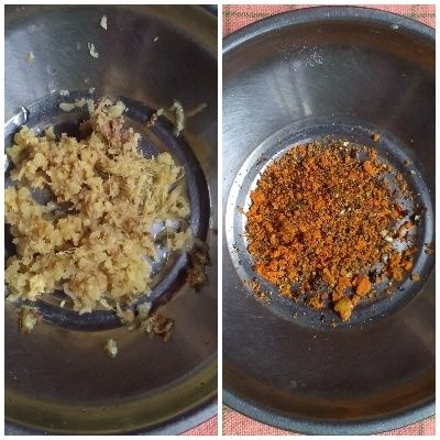 crushed ingredients and crushed ginger for kadha prep
