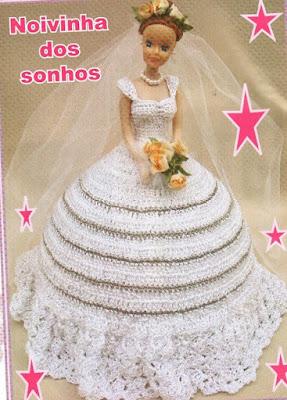 Vestido de Noiva - revista Bonecas em Crochê - Coleção Fazendo Artesanato