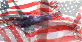 American flags blended over each other with partial transparent layers.