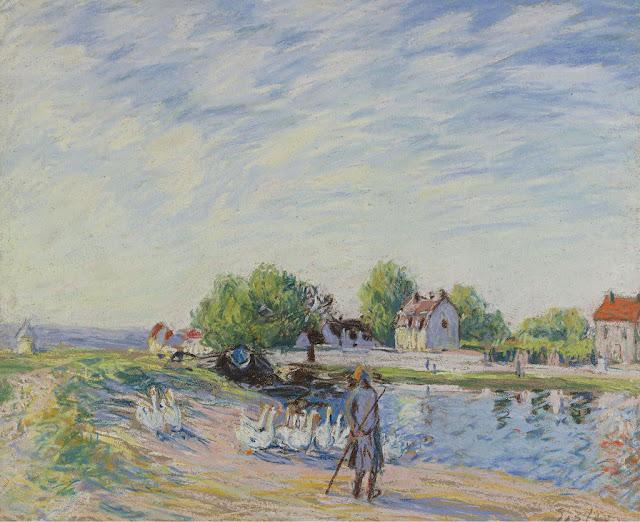 Alfred Sisley - Geese at Saint-Mammes