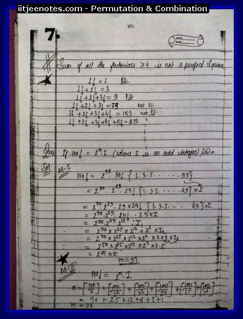 IITJEE Notes on Permutation & Combination7