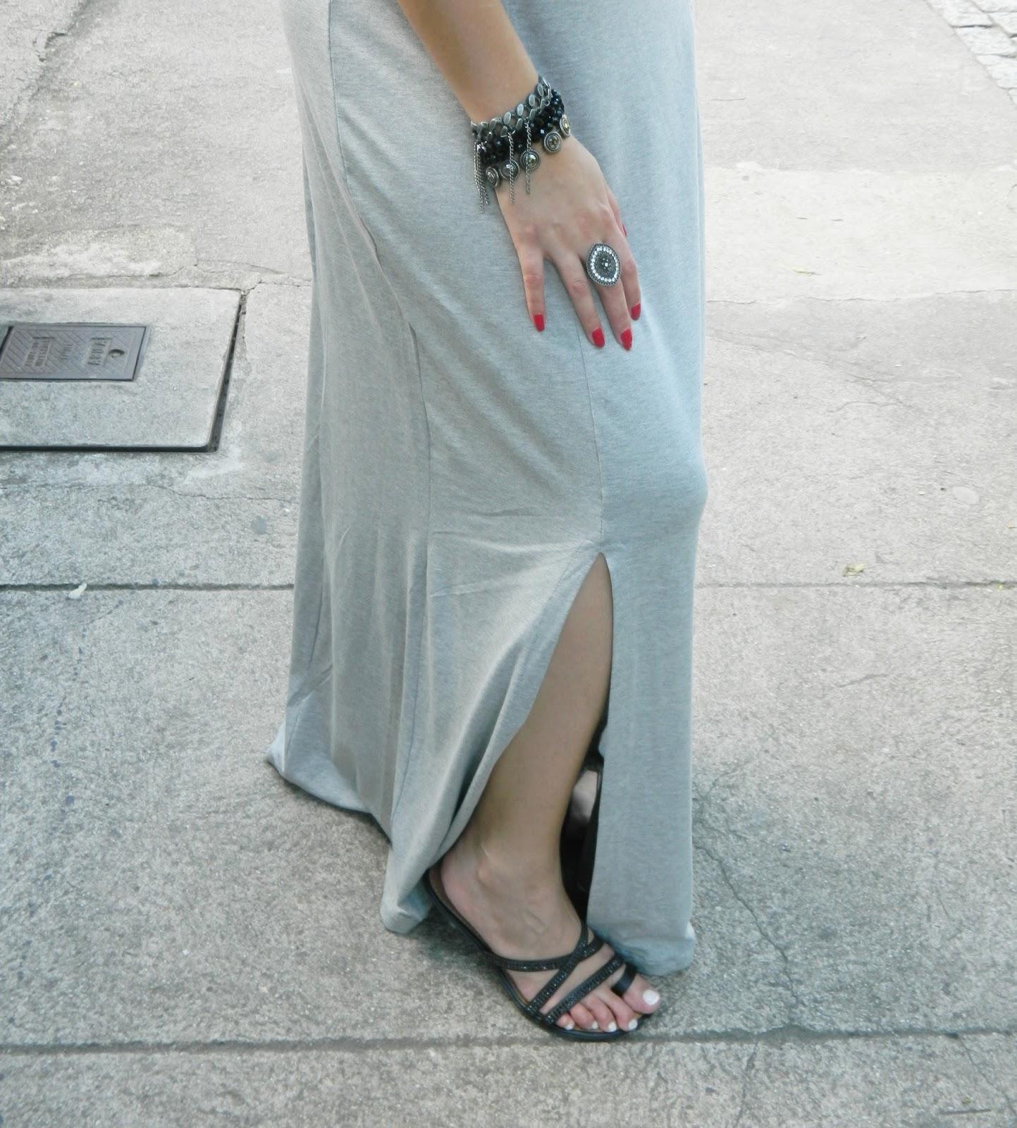 Vestido Longo cinza com fendas