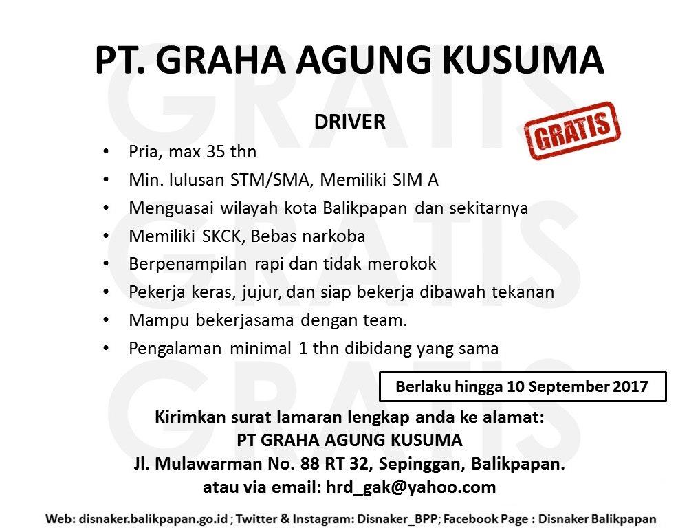 Lowongan Kerja PT. Graha Agung Kusuma