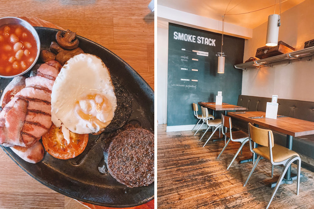Travel blogger Amanda Martin eats a Full Scottish Breakfast at Smoket Stack in Edinburgh