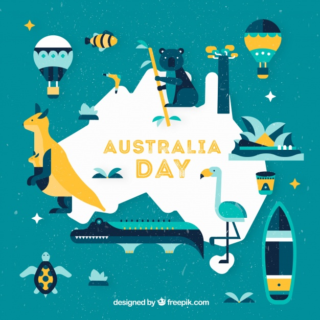 Australia day background with flat design illustration Free Vector