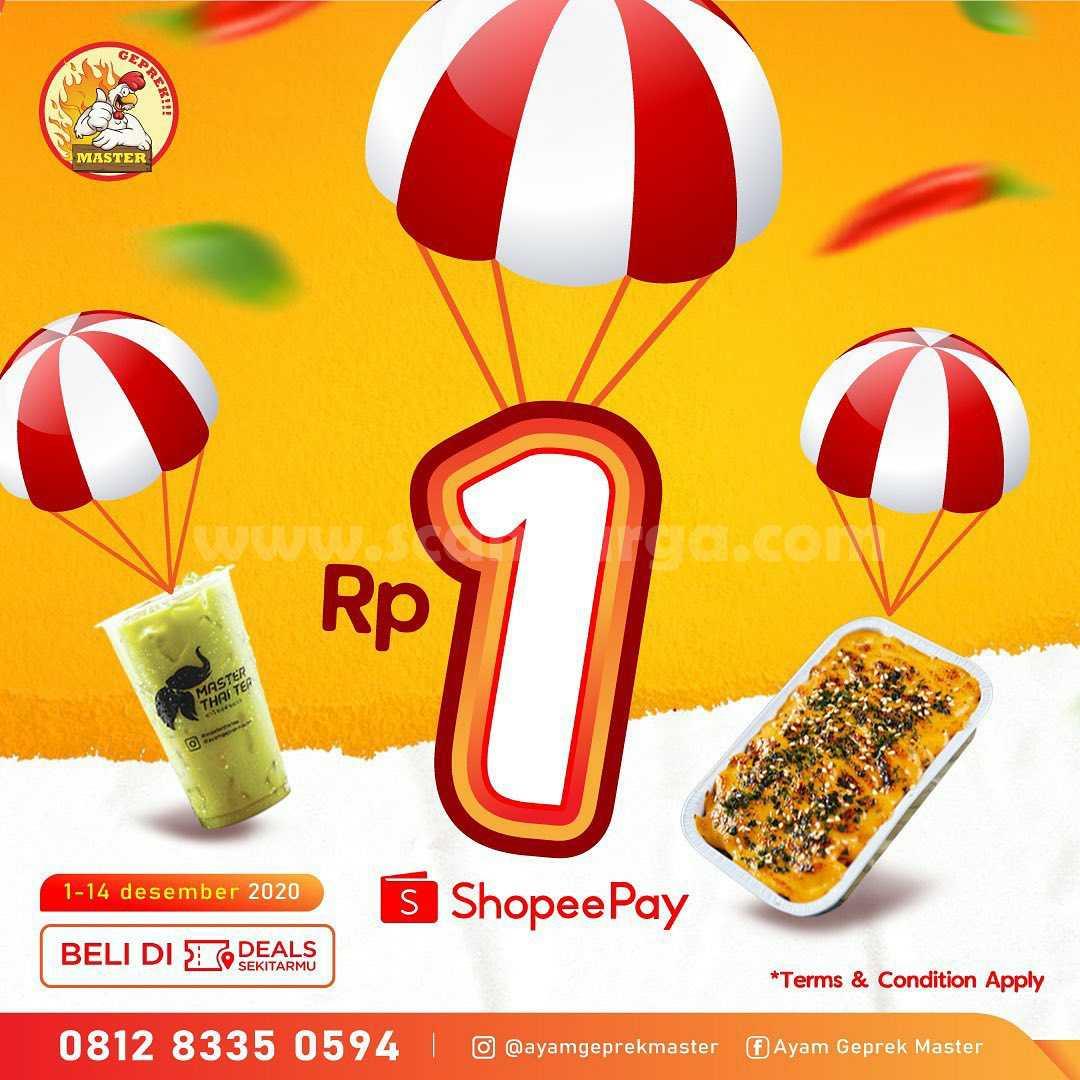 Ayam Geprek Master Promo Voucher Diskon ShopeePay Deals cuma Rp. 1,-