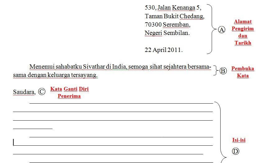Contoh Format Surat Kiriman Tidak Rasmi