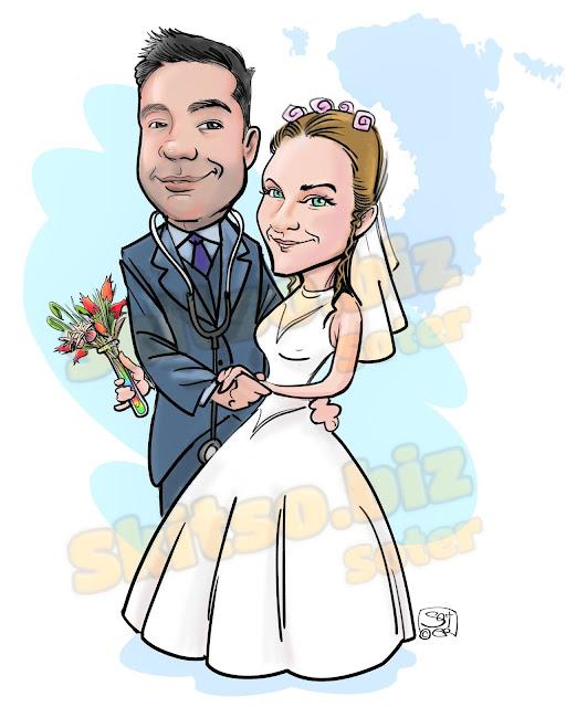 Προσκλητηριο Γάμου Σκιτσο ευχών - Wedding Invitation Sketch of wishes εκδηλώσεις  καρικατούρας skitsobiz