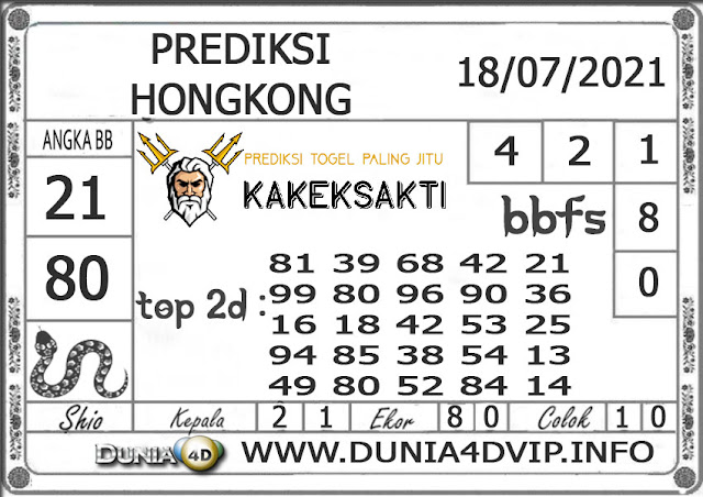 Prediksi Togel HONGKONG DUNIA4D 18 JULI 2021
