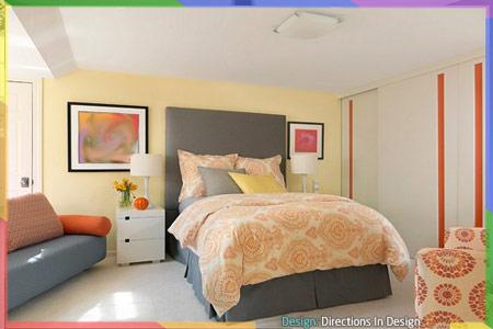 غرفة نوم تحتوي على العديد من الألوان