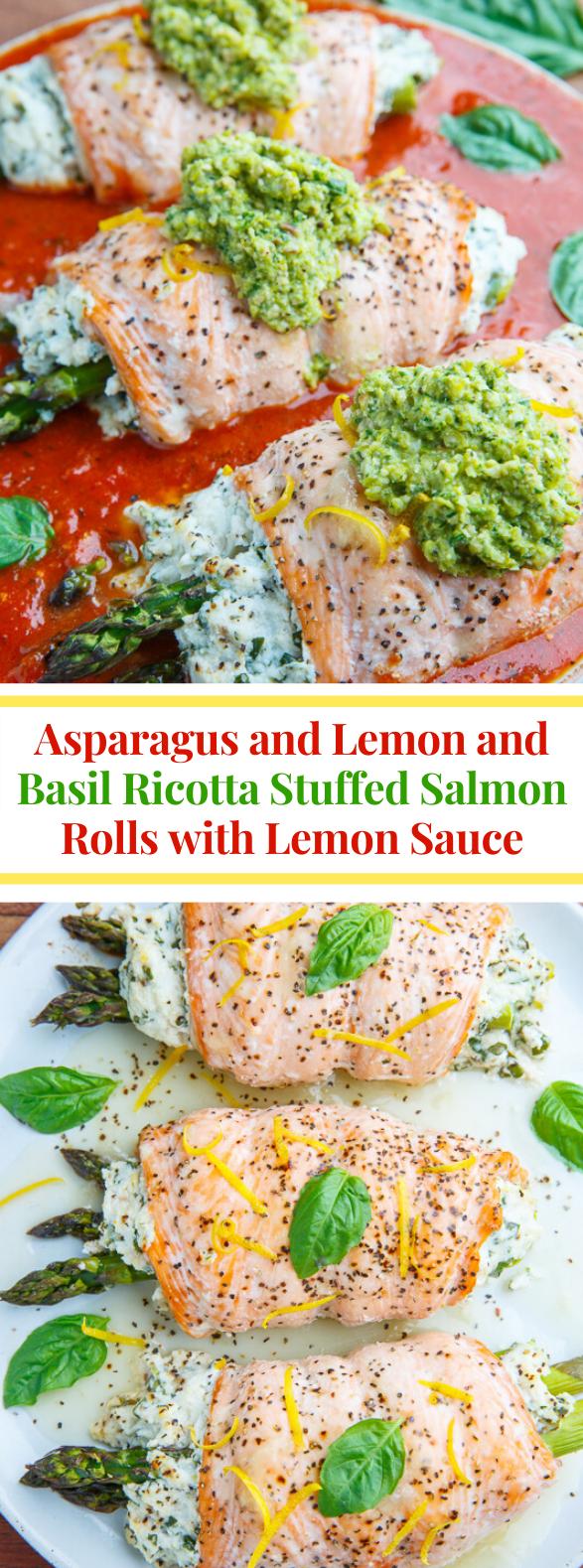 Asparagus and Lemon and Basil Ricotta Stuffed Salmon Rolls with Lemon Sauce #healthy #dinner
