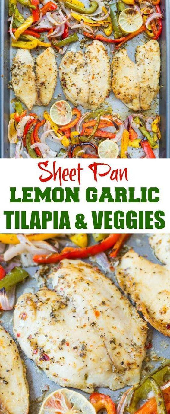 Sheet Pan Lemon Garlic Baked Tilapia And Veggies