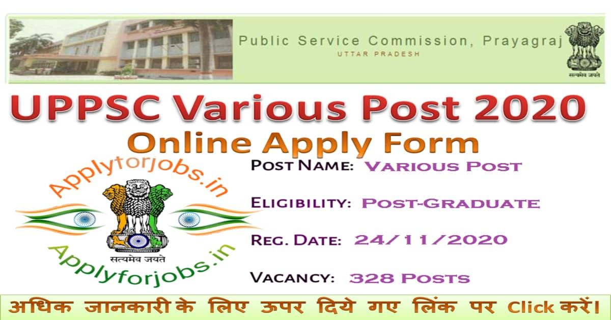 UPPSC Various Post Recruitment 2020, applyforjobs.in
