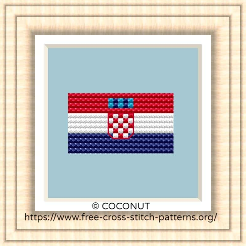 NATIONAL FLAG OF CROATIA CROSS STITCH CHART