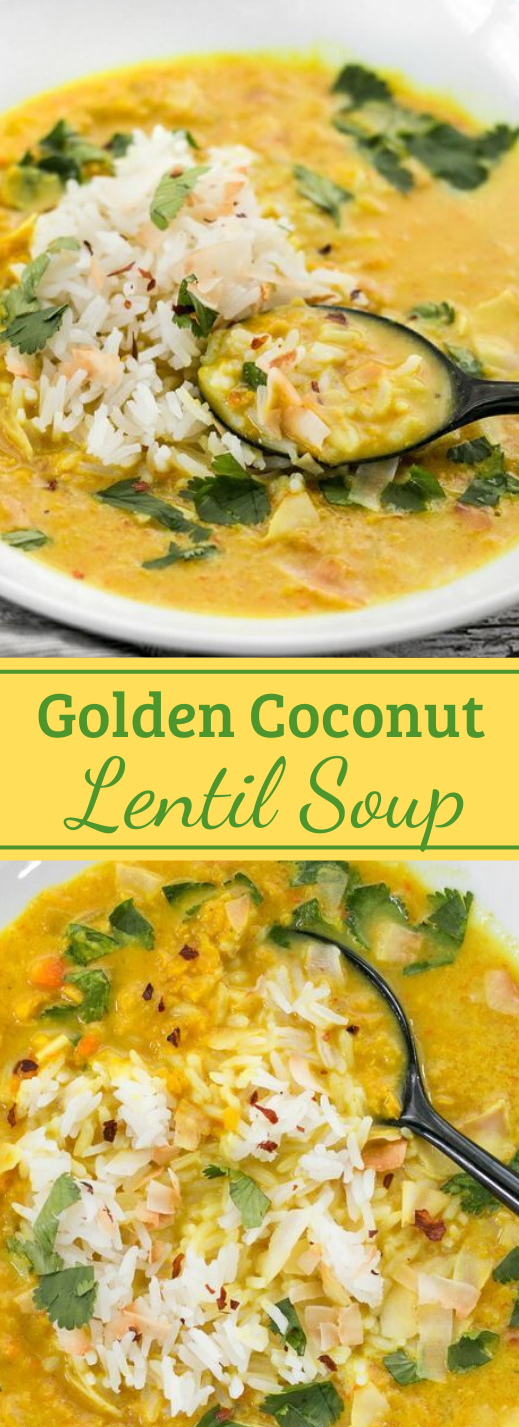 GOLDEN COCONUT LENTIL SOUP #coconut #soup #vegetarian #mushroom #recipes