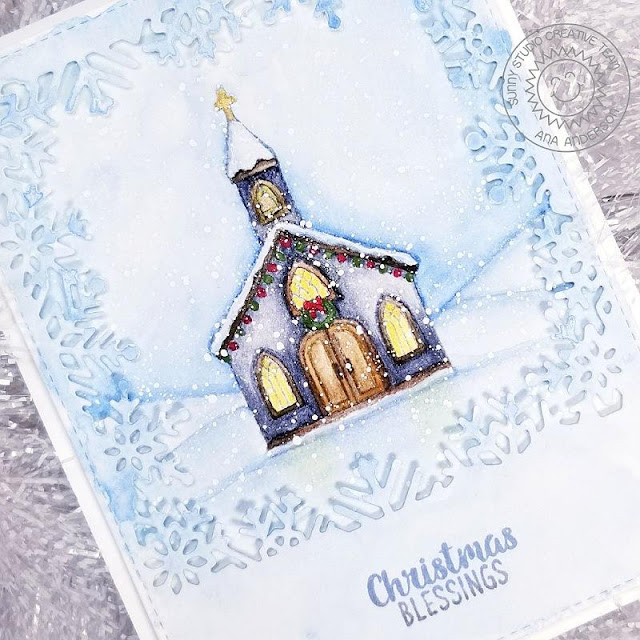 Sunny Studio Stamps: Snowflake Frame Dies Christmas Garland Frame Dies Christmas Chapel Christmas Card by Ana Anderson