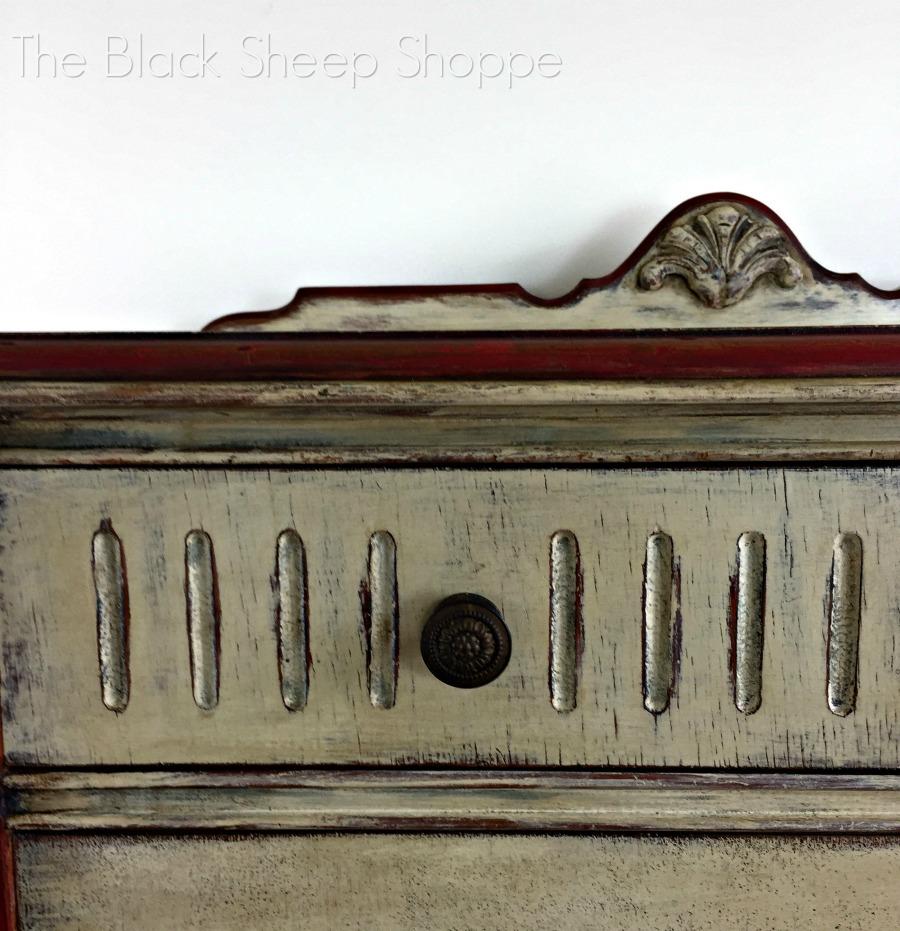 Drawer front and vintage knob on dresser