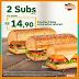 PROMOÇÃO | Subway: 2 Subs 15cm por R$14,90
