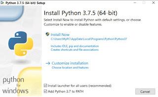 Python 3.7.5 64-bit installation