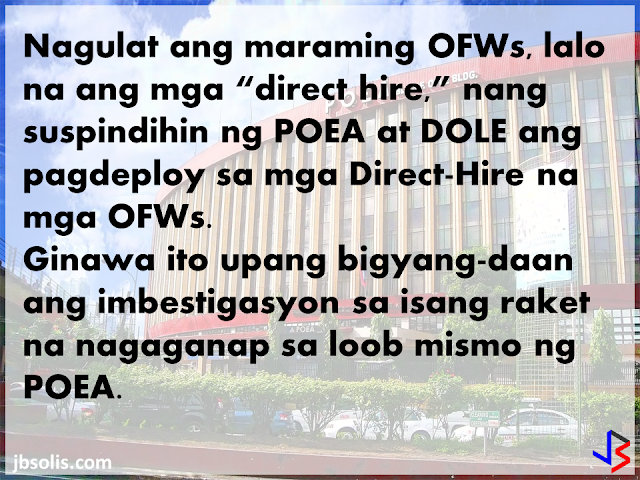 """A number of OFWs and employers abroad were shocked when a complete suspension on the deployment and application of """"Direct Hiring"""" for OFWs was announced last April 25, 2017. This was effected by the complete stopping of OEC issuance for all Directly-Hired OFWs.  The reason for the ban was the discovery of a money-making scheme within the POEA where employees within the agency are abusing the strict rules on Dirict Hiring to gain ill-gotten money. It was discovered that anyone abroad can """"directly hire"""" a Filipino and bypassing the POEA 2016 Revised Rules and Regulation on the Recruitment and Deployment of OFWs. In exchange for P15,000 to P17,000, these insiders can provide the necessary clearances to """"directly hire"""" Filipinos to work abroad, even without the requirements for exemption to the Direct Hire Ban.  For a time being, the matter was being investigated and the authorities were trying to discover those involved in the scam. However, hundreds, if not thousand, of OFWs who were scheduled to leave were left in limbo as they could not leave the country until the ban has been lifted. Similarly, those who were scheduled to go on vacation to the Philippines decided to reschedule or even cancel their vacation for fear that they may not be able to go back to work. The GOOD NEWS is that Labor Secretary Silvestre Bello III has LIFTED THE SUSPENSION ON DIRECT HIRING! During the China Belt and Road Initiative Summit in Beijing, PCCO ASec. Margaux Uson interviewed Sec. Bello and inquired about the ban on direct hiring. Sec. Bello responded saying that he left a memorandum (dated May 16, 2017) lifting the suspension on direct hiring effective IMMEDIATELY. Direct-hire OFWs are still required to get OECs from POEA, but only until this process is removed, which was also announced by Secretary Bello. See No more OEC!  The reason for lifting the suspension is simple. Sec. Bello explained that the investigation is finished and they already know those who were involved in the sca"""