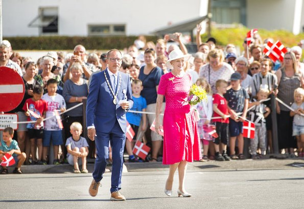 Queen Margrethe arrived at Haderslev Harbour for her stay at Gråsten Palace, summer residence of the Danish Royal Family. Crown Princess Mary