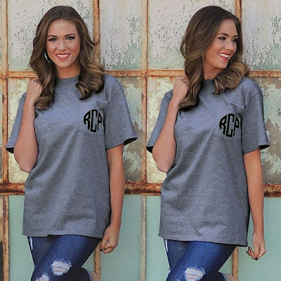 Model Wearing Charcoal Heather Pocket T-Shirt with initials